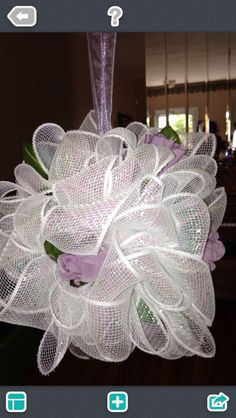 Wedding Deco Mesh Ribbon Pomander ( kissing ball)  can be used as a bouquet as well as a decor for your wedding day--designed and made by Christine Ordered at 35.00
