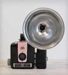 Vintage Brownie Hawkeye Kodak Camera with Flash - Pink by Gallymogger
