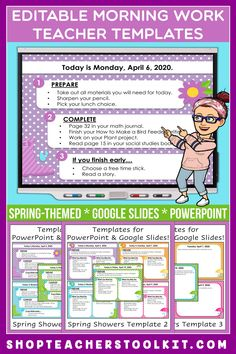 These spring-themed Editable PowerPoint and Google Slides Teacher Templates include space to type the day and date, reminders of what to do when entering the classroom, as well as 'must do' and 'may do' assignments. Remind your students of their morning assignments during arrival time by displaying them on your whiteboard or SMARTBoard. #teachertemplates #morningarrivalinstructions #editable #powerpoint #googleslides #spring
