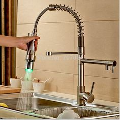 57.00$  Buy here - http://alilff.worldwells.pw/go.php?t=32397534593 - LED Light Pull Down Kitchen Sink Faucet Single Handle Dual Spout Spring Kitchen Mixer Taps Brushed Nickel
