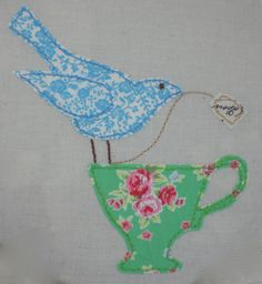 Embroidery Hoop picture. Bird and teacup picture. Bobbin & Bodkin Creative…