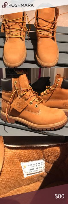 Timberland waterproof boots Worn few times I bought it in London but I don't needed where I live now. They are like new size US5 boys.im normally 7/5 and fits me great Timberland Shoes Lace Up Boots