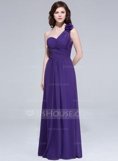 Bridesmaid Dresses - $106.99 - A-Line/Princess One-Shoulder Floor-Length Chiffon Bridesmaid Dress With Ruffle Flower(s) (007037272) http://jjshouse.com/A-Line-Princess-One-Shoulder-Floor-Length-Chiffon-Bridesmaid-Dress-With-Ruffle-Flower-S-007037272-g37272