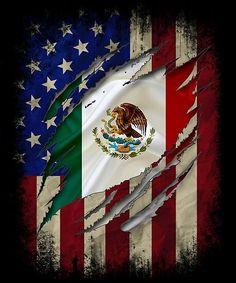 Mexican American Flag, American Flag Wall Art, American Flag Painting, Native American, Mexican Flag Tattoos, Mexican Flag Drawing, Mexican Artwork, American Flag Wallpaper, Mexico Wallpaper