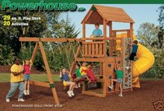 Powerhouse Wooden Play Yard Swing Set Building Plans Free Ship +bonus
