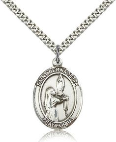 Bliss Manufacturing St Aedan of Ferns Catholic Patron Saint Oval Pendant Necklace Bliss, Catholic Jewelry, Catholic Gifts, Catholic School, Catholic Prayers, Patron Saints, Oval Pendant, Chains For Men, Silver Man