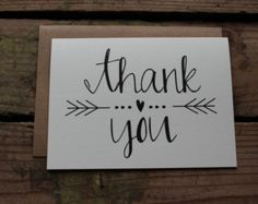 Hand Lettered Set of 5 Thank You Cards W Envelopes. by AmourDeArt
