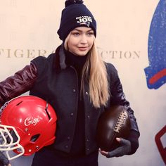 Football meets fashion at #TommyFall15 with the gorgeous Gigi Hadid.