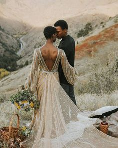 This plunging v-back wedding dress with a sequin train and glittery candy stripe. by Inspiration Wedding Dress Sleeves, Boho Wedding Dress, Dresses With Sleeves, Ugly Dresses, Mermaid Wedding, Cap Sleeves, Vestido Boho Chic, Bridal Gowns, Wedding Gowns