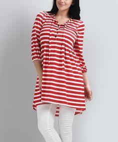 Red & White Stripe Hi-Low Button-Front Dress - Plus by Reborn Collection #zulily #zulilyfinds