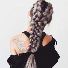 Silvery French braids.