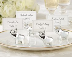 """""""Lucky in Love"""" Silver-Finish Lucky Elephant Place Card/Photo Holder (Set of 4)"""