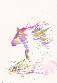 Zen Horse Art Watercolor   Print Original  Painting by mallalu, $19.00