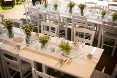 The rustic table decoration had a lovely combination of wild flowers: amaranthus and chamomile. See more here http://www.love4weddings.gr/rustic-island-wedding/ #rusticweddingideas #rusticwedding