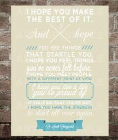 INSTANT DOWNLOAD F. Scott Fitzgerald Quote Poster 9x12