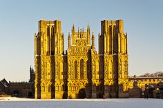 Winter at the Cathedral - The last of the evening light on Wells Cathedral, Somerset, UK.  ID JB4_0827