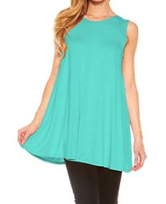 """""""$ 6.99 Women's Sleeveless Solid Long Flowy Basic Tunic Tank Top Color : Seafoam BlueTunic Top Perfect for Casual,Normal,Everyday,Party.This is a beautiful,cute and amazing top available at very cheap prices.Will be available in various colors and sizes.This can be worn during winters.fall,summer,spring"""".Women's Sleeveless Solid Long Flowy Basic Tunic Tank Top by Velucci at Amazon Women's Clothing store:"""