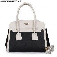 UK New Prada Saffiano Leather Handbag Black and White - Louis Vuitton Sale