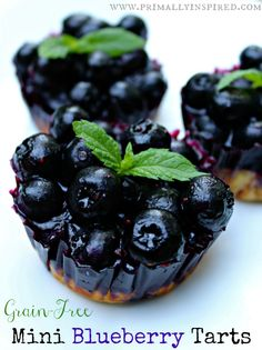 We love these! Grain Free Blueberry Tarts via Primally Inspired (Paleo, Gluten Free).