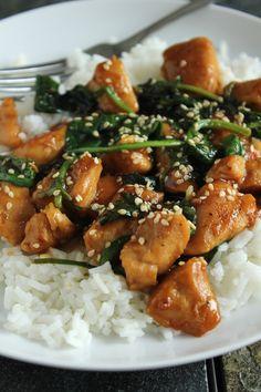 Sesame Chicken with Spinach