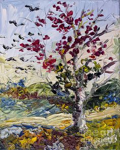 Turning Red Autumn Fire Tree And Migrating Birds by Ginette Callaway