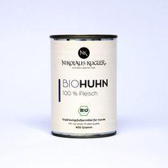 Bio Huhn pur 400g Nikolaus Kugler 4 Komponenten Futter Prinzip Rind, Candle Jars, Dog Food, Goat, Cats