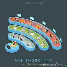 Public Wi-Fi zone wireless connection icon flat 3d isometric