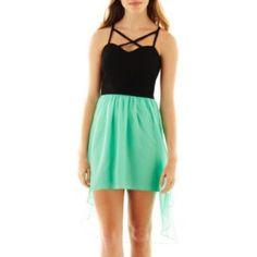 49d3b9a0b06 Trixxi Hi Low Lattice Dress - Size 13 (Euc) Green Chiffon Dress