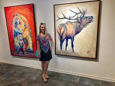 Artist Teshia posing with her original artwork at Galerie Züger Vail in beautiful Vail, Colorado! Original Artwork, Original Paintings, Colorful Animals, Wildlife Art, Park City, Fine Art Prints, Moose Art, Art Gallery, Vail Colorado