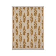 """Amanda Lane """"Feathers Yellow Cream"""" Mustard Pattern KESS Naturals Canvas (Frame not Included)"""