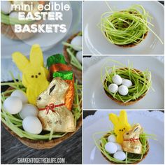 Kids of all ages will love to nibble through these mini edible Easter baskets!