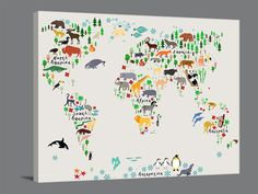 Kids Canvas Wall Art animals world map canvas prints | for children and kids room world