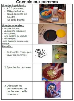 Site internet de l& maternelle Danielle Casanova - Le crumble aux pommes Preschool Food, French Worksheets, Core French, Beignets, Cookies Et Biscuits, Tupperware, Kindergarten, Nutrition, Food And Drink