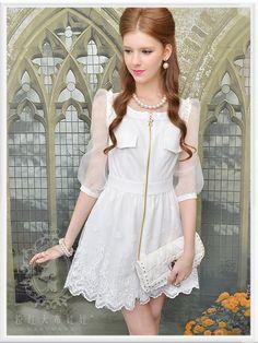 OL Formal Women Lolita Princess Sweet Slim elegance Party Wedding Lace Dress