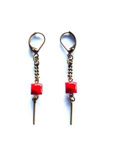 Boucles d'oreilles graphiques sequins émail - bijou créateur de la boutique lesfilsdestemps sur Etsy
