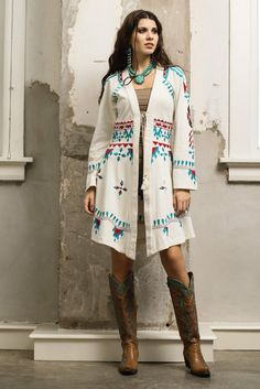 Roja Cheyenne Duster - white duster, black duster, southwest coat, embroideredd coat http://www.cowgirlkim.com/roja-collection-spring-2015-cheyenne-duster-two-color-options.html