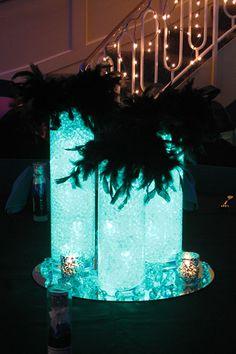 Glass Cylinder with Aqua Gems