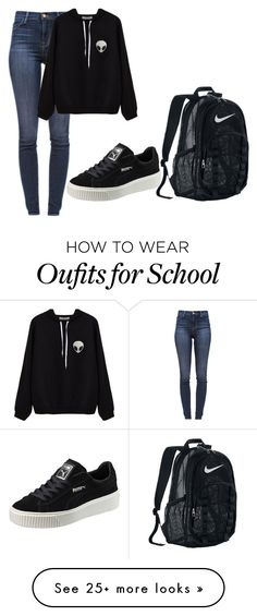 """lazy school day"" by fashionlover4562 on Polyvore featuring J Brand, Puma and NIKE"