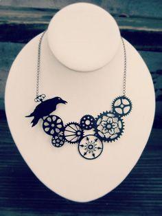 Steampunk jewelry black steel raven necklace by UntamedMenagerie