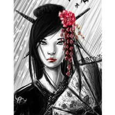Geisha with red highlights
