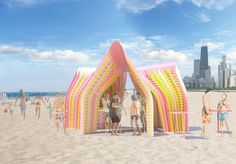 Rockin Pinata proposal is a colorful self-supporting trifolium kiosk situated on North Beach, Chicago Chicago, North Beach, Kiosk, Pavilion, Kobe Japan, Concept, Proposals, Studio, Architecture