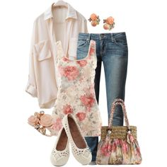 20 Floral Outfit Comboinations for Spring/ Summer - Outfit Ideas for 2017 - outfits - Summer Dress Outfits Outfits 2016, Mode Outfits, Spring Outfits, Casual Outfits, Fashion Outfits, Floral Outfits, Outfit Summer, Weekend Outfit, Fashion Hats