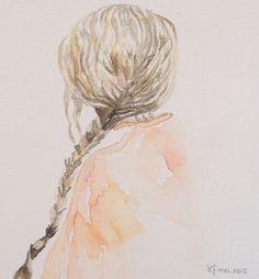 Aquarel. Meisje met ingevlochten haren.