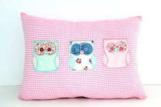 owls pillows,decorative pillows,throw pillows,handmade pillows,embroidered pillows,cotton pillows,gifts for kids,birthday gifts by sweetdreamsbynofi on Etsy
