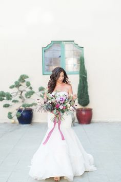 Plum and lavender wedding colors.  Photo by www.leahvis.com