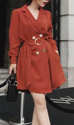 Double Breasted Belted Lantern-Sleeve Coat Dress