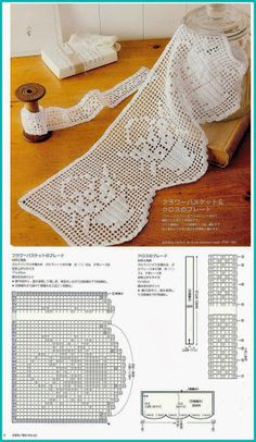 Filet crochet lace edging, floral bouquet in basket with scallops ~~ Szydełkomania: Koronki Crochet Lace Edging, Crochet Motifs, Crochet Borders, Crochet Trim, Crochet Doilies, Crochet Hooks, Knit Crochet, Crocheted Lace, Filet Crochet Charts