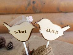Wedding Cake Topper - Rustic Love Birds with Traditional Veil and Bowtie - Wedding Decoration - Set of two (2) You CHOOSE the colors on Etsy, $35.99