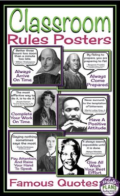 Class rules posters: famous quotes schulkram – Get your students' attention with these unique back-to-school classroom rules posters. Each of the 6 posters include a quote from a famous person which relates to a classroom rule. Class Rules Poster, Classroom Rules Poster, Social Studies Classroom, Middle School Classroom, Science Classroom, Science Room, English Classroom Posters, Science Art, English Classroom Decor