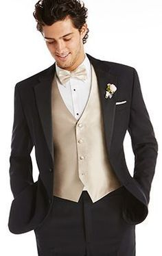 Image result for black and gold vest with tuxedo and bow tie